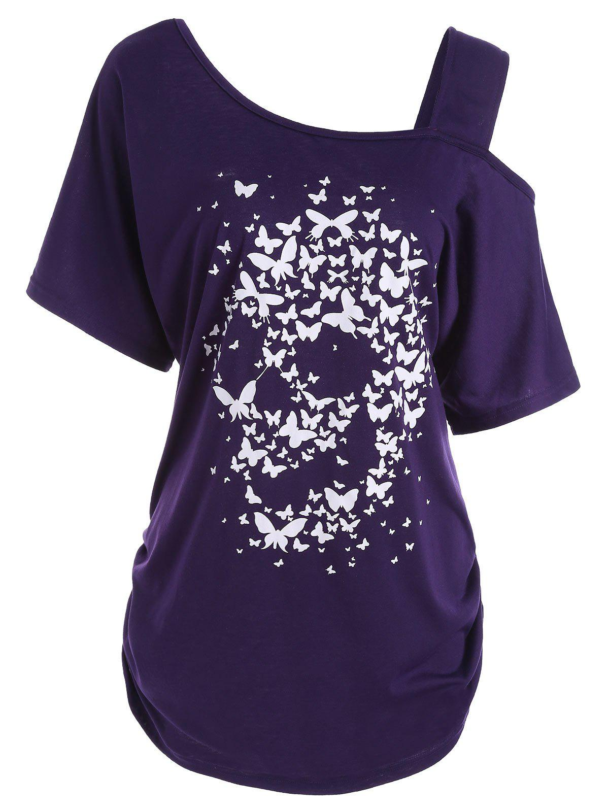 Skull Butterfly Print Skew Neck Plus Size TopWOMEN<br><br>Size: 2XL; Color: PURPLE; Material: Polyester; Shirt Length: Long; Sleeve Length: Short; Collar: Skew Collar; Style: Casual; Season: Summer; Pattern Type: Skulls; Weight: 0.4000kg; Package Contents: 1 x Tee;