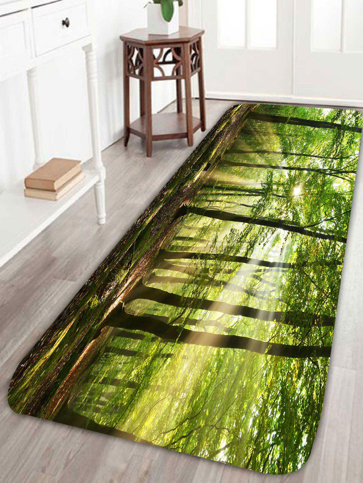 Skidproof 3D Morning Sunshine Forest Print Bath RugHOME<br><br>Size: W24 INCH * L71 INCH; Color: GREEN; Products Type: Bath rugs; Materials: Coral FLeece; Pattern: Plant; Style: Fresh Style; Shape: Rectangle; Package Contents: 1 x Rug;