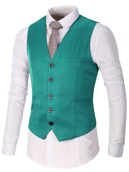 Unique Single Breasted Faux Pocket Waistcoat