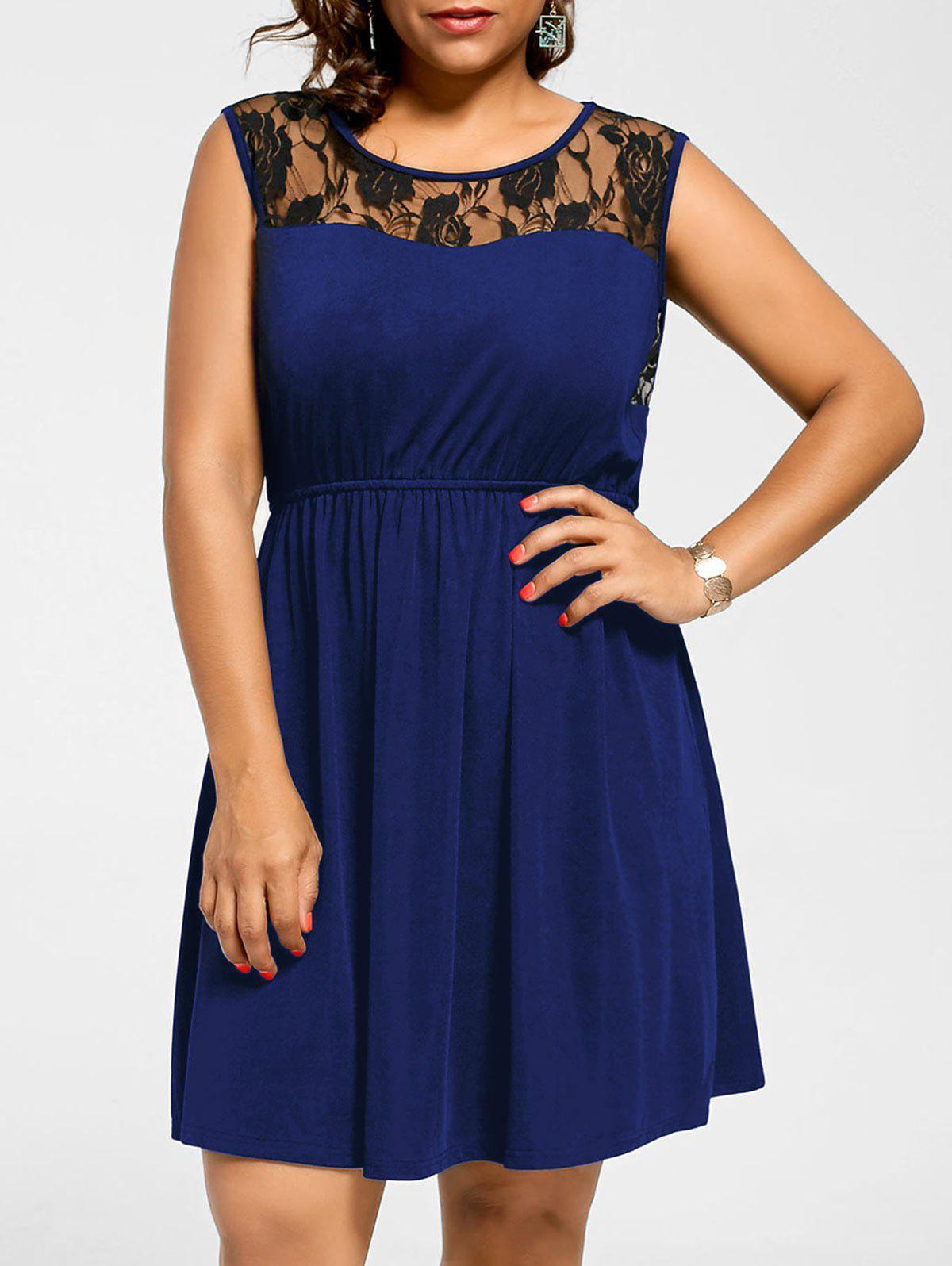Sleeveless Plus Size Lace Yoke Skater DressWOMEN<br><br>Size: 2XL; Color: BLUE; Style: Brief; Material: Polyester; Silhouette: A-Line; Dresses Length: Knee-Length; Neckline: Round Collar; Sleeve Length: Sleeveless; Embellishment: Lace; Pattern Type: Floral; With Belt: No; Season: Summer; Weight: 0.3500kg; Package Contents: 1 x Dress;