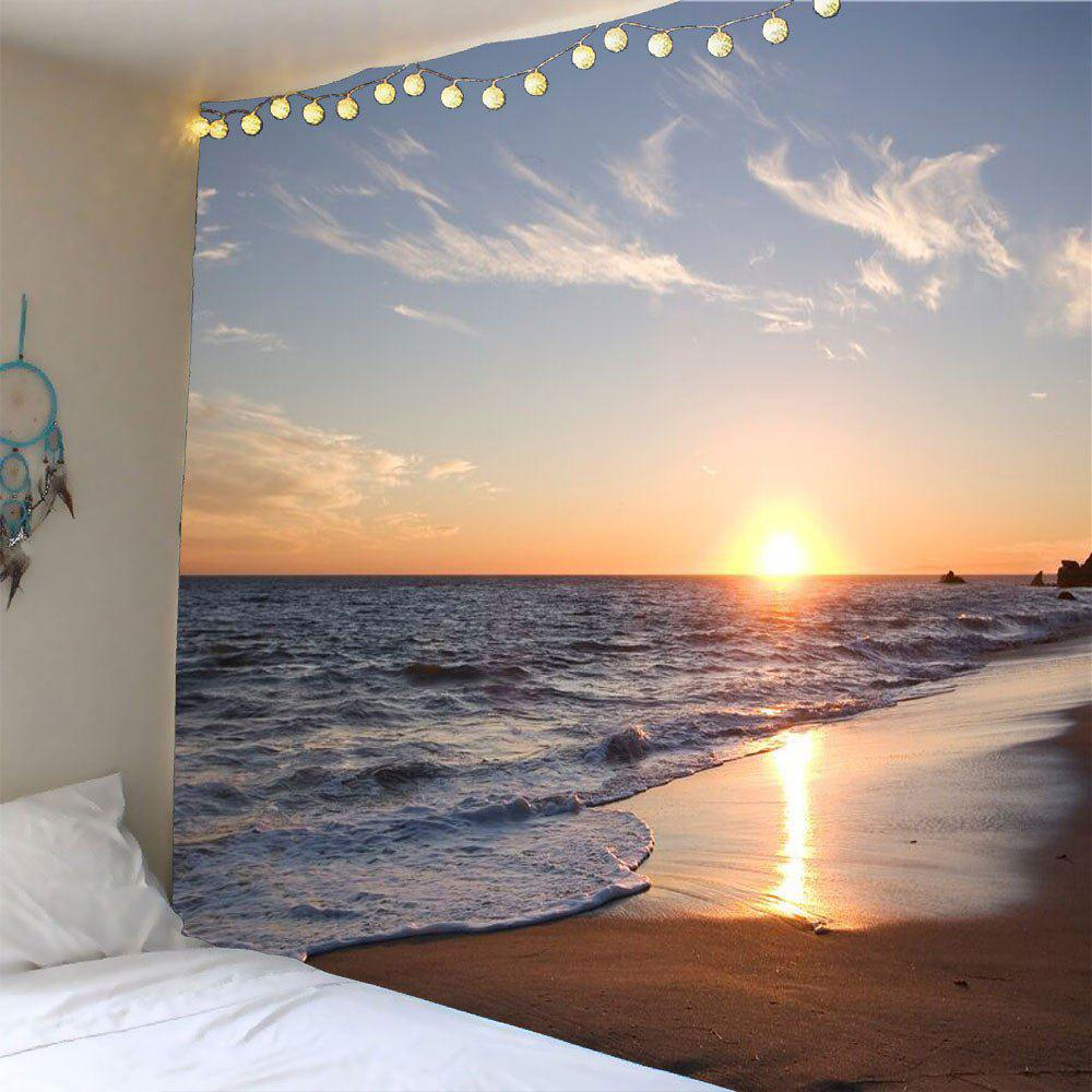 Waterproof Seaside Sunset Wall TapestryHOME<br><br>Size: W59 INCH * L59 INCH; Color: YELLOW; Style: Natural; Theme: Landscape; Material: Polyester; Feature: Removable; Shape/Pattern: Print; Weight: 0.2400kg; Package Contents: 1 x Tapestry;