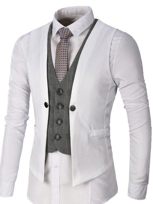 Fashion Single Breasted Two Tone Faux Twinset Waistcoat