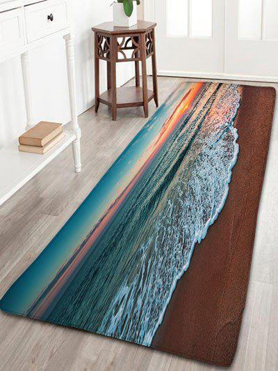 Flannel Skidproof Beach Printed Area RugHOME<br><br>Size: W24 INCH * L71 INCH; Color: COLORMIX; Products Type: Bath rugs; Materials: Flannel; Pattern: Scenic; Style: Beach Style; Shape: Rectangle; Package Contents: 1 x Rug;