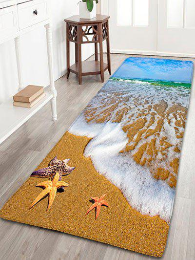 Antiskid Flannel Beach Starfish Pattern RugHOME<br><br>Size: W24 INCH * L71 INCH; Color: SAND YELLOW; Products Type: Bath rugs; Materials: Flannel; Pattern: Scenic; Style: Beach Style; Shape: Rectangle; Package Contents: 1 x Rug;