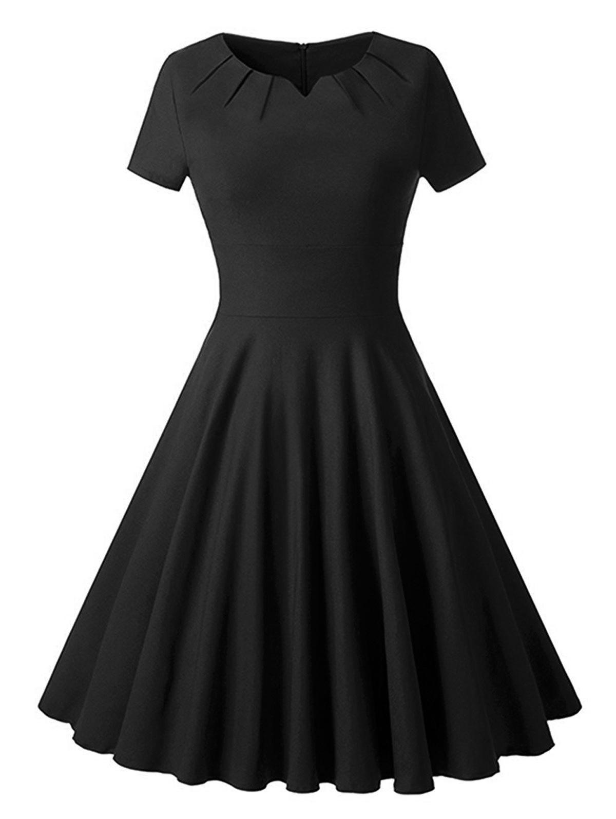 Sale Ruched Vintage Skater Party Dress