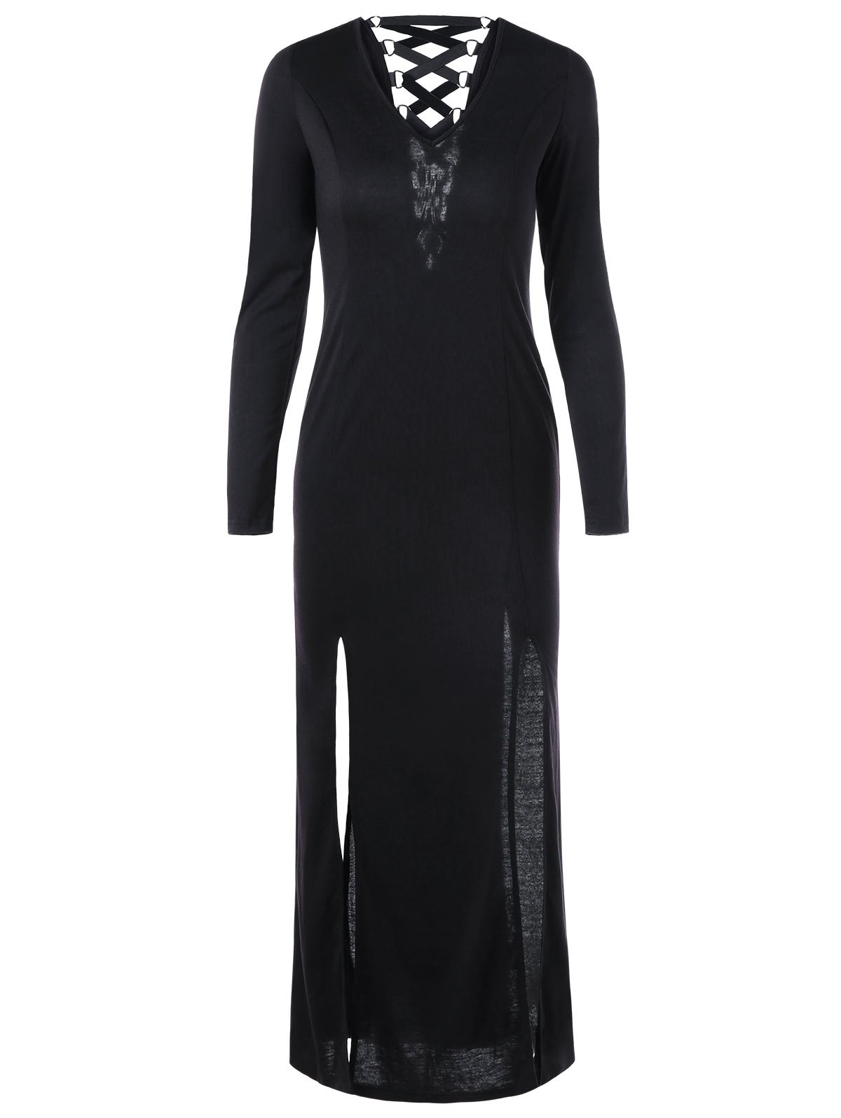 Outfits Lace Up Long Sleeve Slit Long Sheath Maxi Dress