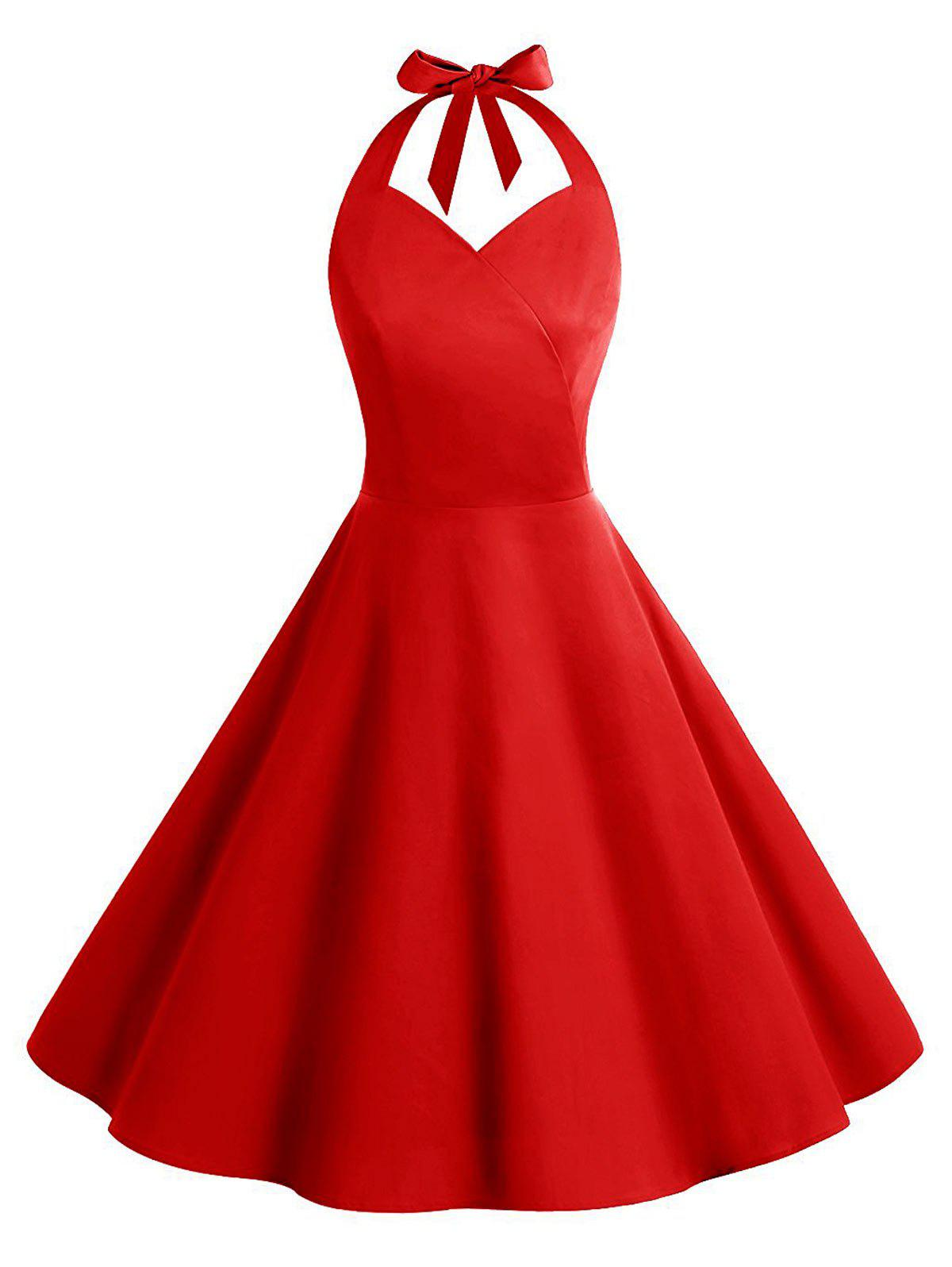 Vintage Backless Halter Skater Party DressWOMEN<br><br>Size: 2XL; Color: RED; Style: Vintage; Material: Cotton,Polyester; Silhouette: A-Line; Dress Type: Skater Dress,Swing Dress; Dresses Length: Knee-Length; Neckline: Halter; Sleeve Length: Sleeveless; Embellishment: Backless; Pattern Type: Solid; With Belt: No; Season: Summer; Weight: 0.4300kg; Package Contents: 1 x Dress;