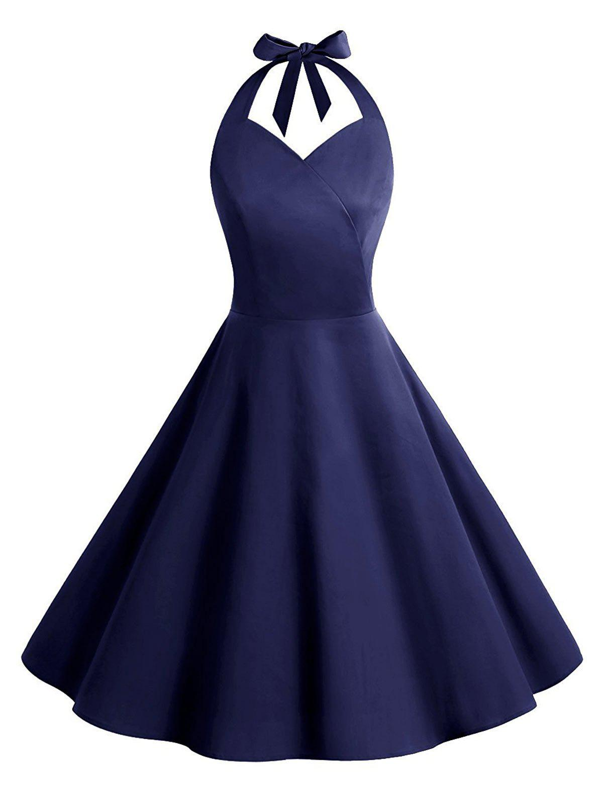Unique Vintage Backless Halter Skater Party Dress