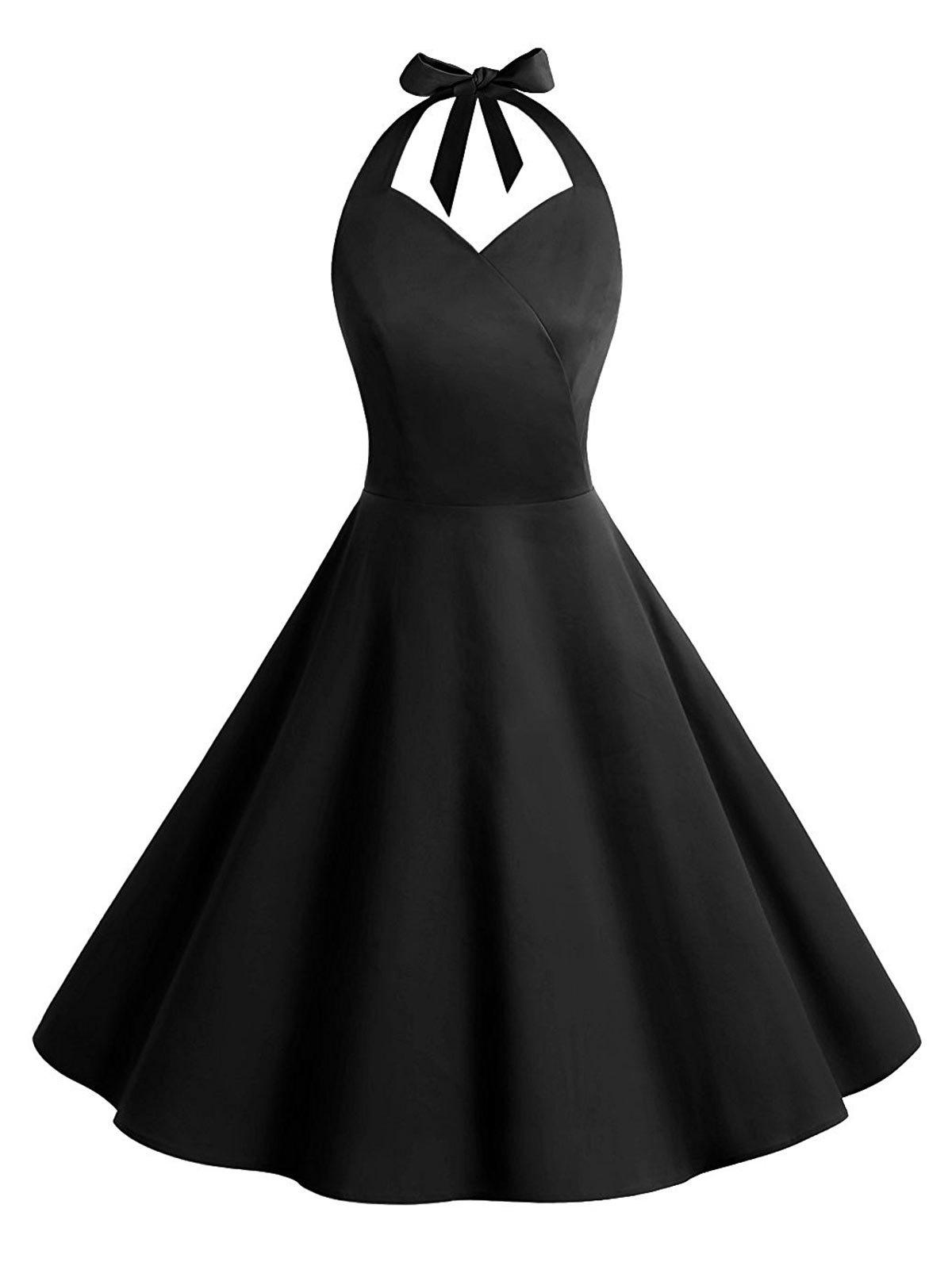 Outfit Vintage Backless Halter Skater Party Dress