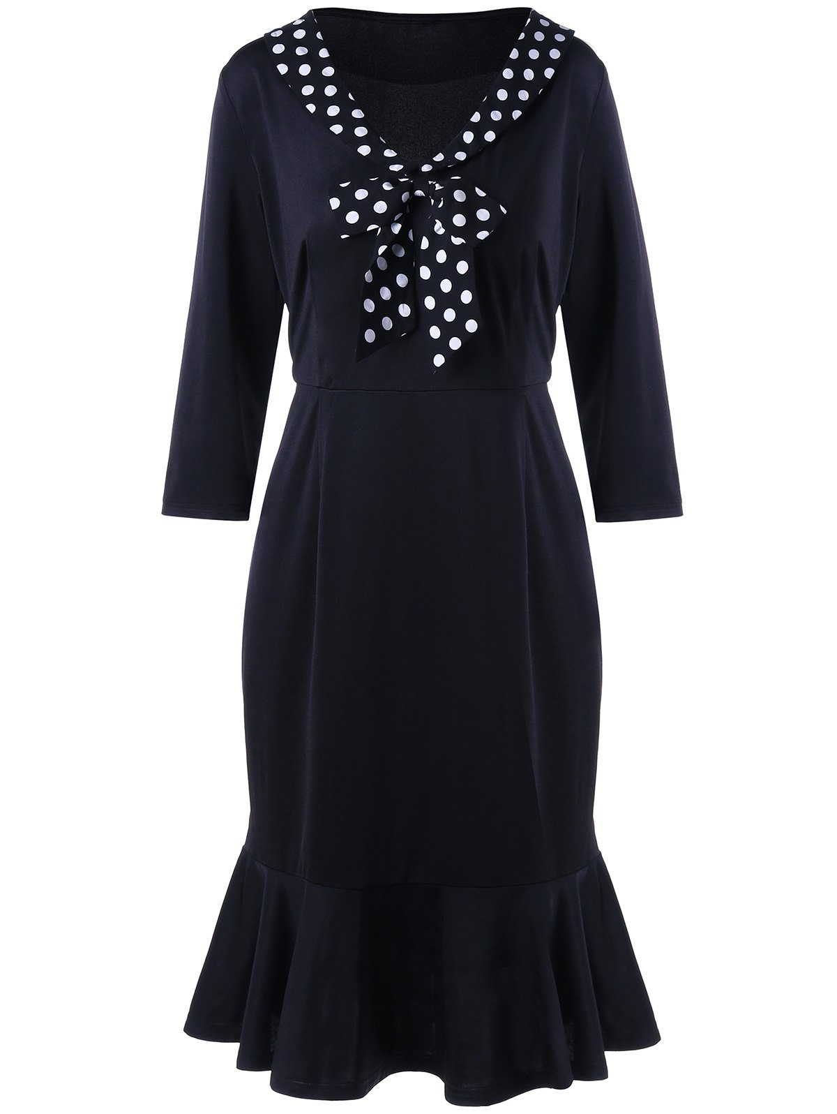 Polka Dot Insert Plus Size Fishtail DressWOMEN<br><br>Size: 5XL; Color: BLACK; Style: Brief; Material: Polyester,Spandex; Silhouette: Trumpet/Mermaid; Dresses Length: Knee-Length; Neckline: V-Neck; Sleeve Length: 3/4 Length Sleeves; Pattern Type: Polka Dot; With Belt: No; Season: Fall,Spring; Weight: 0.3870kg; Package Contents: 1 x Dress;