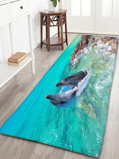 Dolphin Print Bathroom Flannel Antislip Area RugHOME<br><br>Size: W24 INCH * L71 INCH; Color: SPA; Products Type: Bath rugs; Materials: Flannel; Pattern: Animal; Style: Cute; Shape: Rectangle; Package Contents: 1 x Rug;