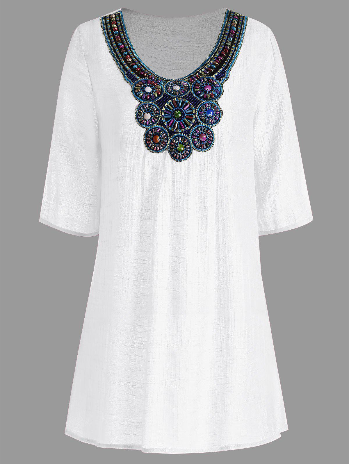 white 2xl beaded plus size tunic top rosegal