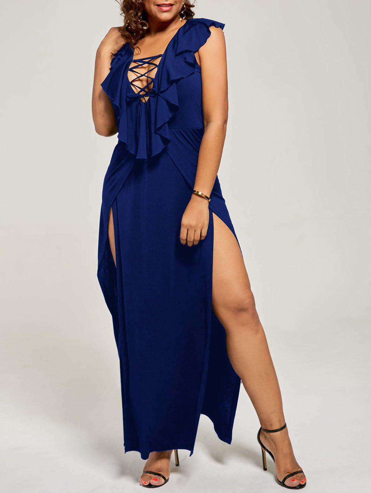 Plus Size Flounce Lace Up Maxi High Slit DressWOMEN<br><br>Size: 4XL; Color: DEEP BLUE; Style: Casual; Material: Polyester,Spandex; Silhouette: A-Line; Dresses Length: Floor-Length; Neckline: Plunging Neck; Sleeve Length: Sleeveless; Pattern Type: Solid; With Belt: No; Season: Fall,Spring,Summer; Weight: 0.3500kg; Package Contents: 1 x Dress;