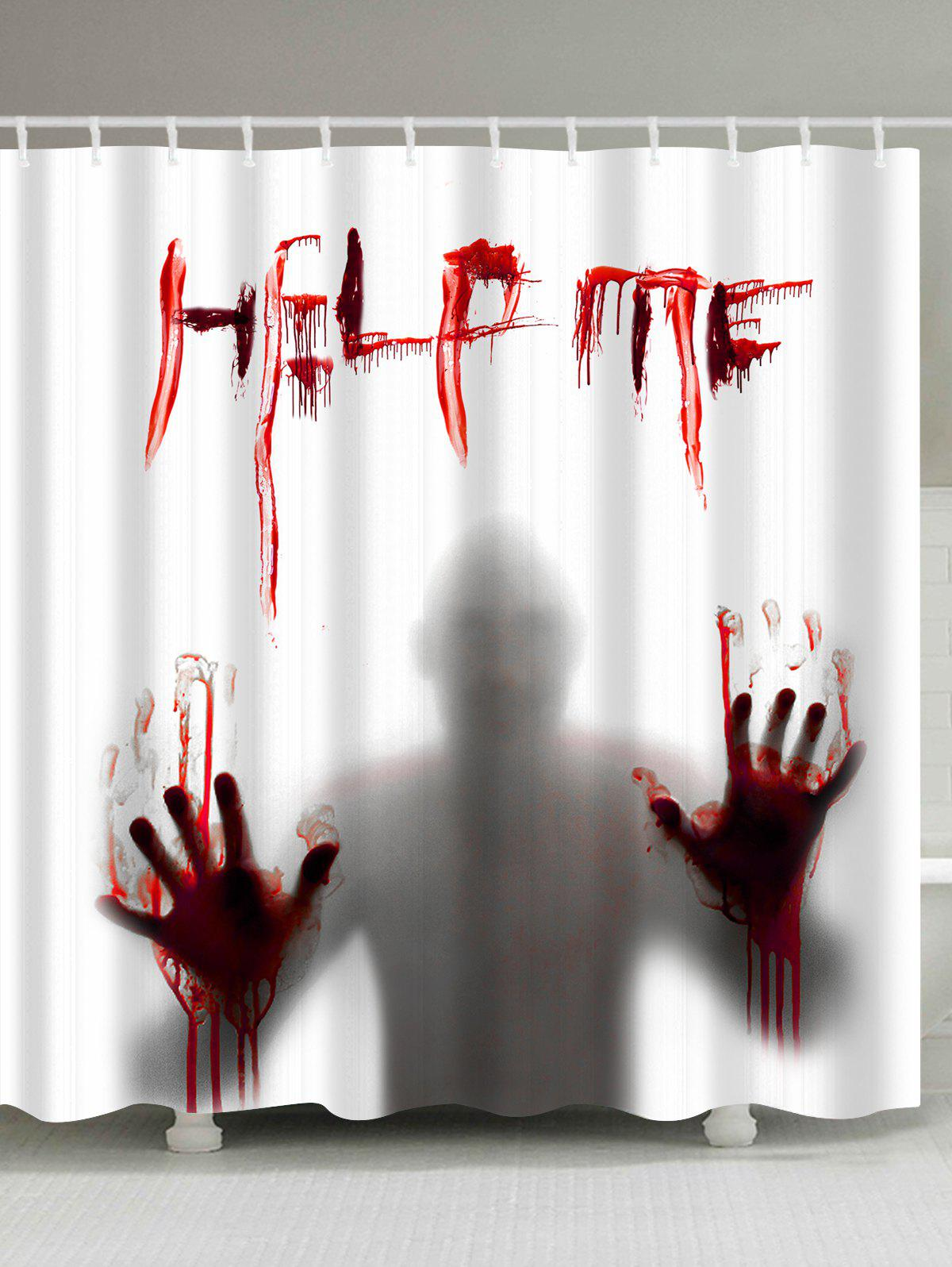 Gothic Help Me Shadow Shower Curtain For HalloweenHOME<br><br>Size: W71 INCH * L79 INCH; Color: WHITE; Products Type: Shower Curtains; Materials: Polyester; Pattern: Figure; Style: Gothic; Number of Hook Holes: W59 inch*L71 inch: 10; W71 inch*L71 inch: 12; W71 inch*L79 inch: 12; Package Contents: 1 x Shower Curtain 1 x Hooks (Set);