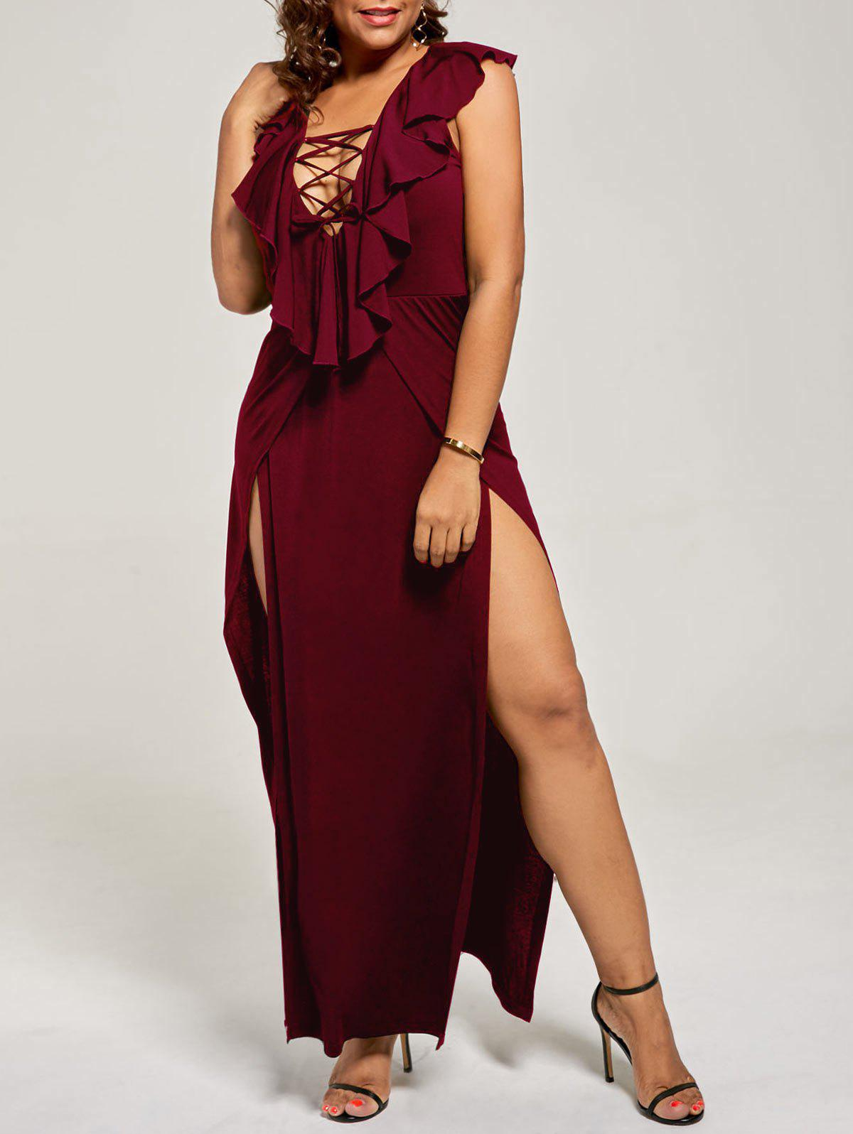 Plus Size Flounce Lace Up Maxi High Slit DressWOMEN<br><br>Size: 3XL; Color: WINE RED; Style: Casual; Material: Polyester,Spandex; Silhouette: A-Line; Dresses Length: Floor-Length; Neckline: Plunging Neck; Sleeve Length: Sleeveless; Pattern Type: Solid; With Belt: No; Season: Fall,Spring,Summer; Weight: 0.3500kg; Package Contents: 1 x Dress;