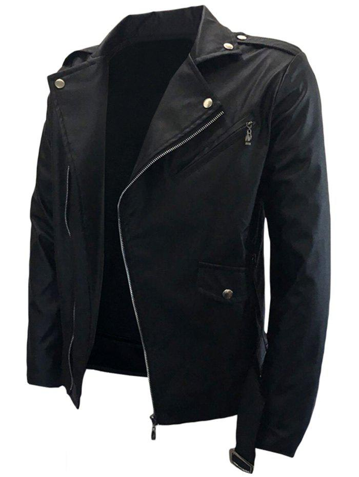 Asymmetrical Zip Belted PU Leather Biker JacketMEN<br><br>Size: L; Color: BLACK; Clothes Type: Jackets; Style: Fashion; Material: PU,Rayon; Collar: Turn-down Collar; Shirt Length: Regular; Sleeve Length: Long Sleeves; Season: Fall,Winter; Weight: 0.7000kg; Package Contents: 1 x Jacket;