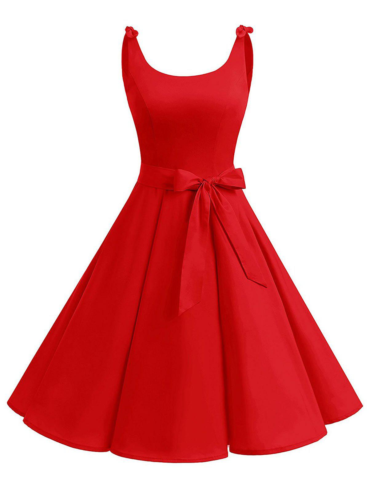 Vintage Bowknot Cut Out Skater Party DressWOMEN<br><br>Size: 2XL; Color: RED; Style: Vintage; Material: Cotton,Polyester; Silhouette: A-Line; Dress Type: Fit and Flare Dress,Skater Dress; Dresses Length: Knee-Length; Neckline: Scoop Neck; Sleeve Length: Sleeveless; Embellishment: Cut Out; Pattern Type: Solid Color; With Belt: Yes; Season: Summer; Weight: 0.3500kg; Package Contents: 1 x Dress  1 x Belt;