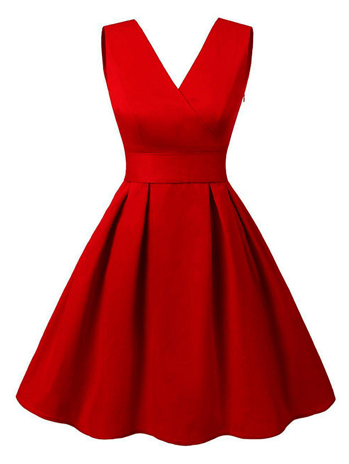 Cut Out V Neck Vintage Pin Up DressWOMEN<br><br>Size: 2XL; Color: RED; Style: Vintage; Material: Cotton,Polyester; Silhouette: A-Line; Dresses Length: Knee-Length; Neckline: V-Neck; Sleeve Length: Sleeveless; Embellishment: Cut Out; Pattern Type: Solid; With Belt: Yes; Season: Summer; Weight: 0.3800kg; Package Contents: 1 x Dress  1 x Belt;