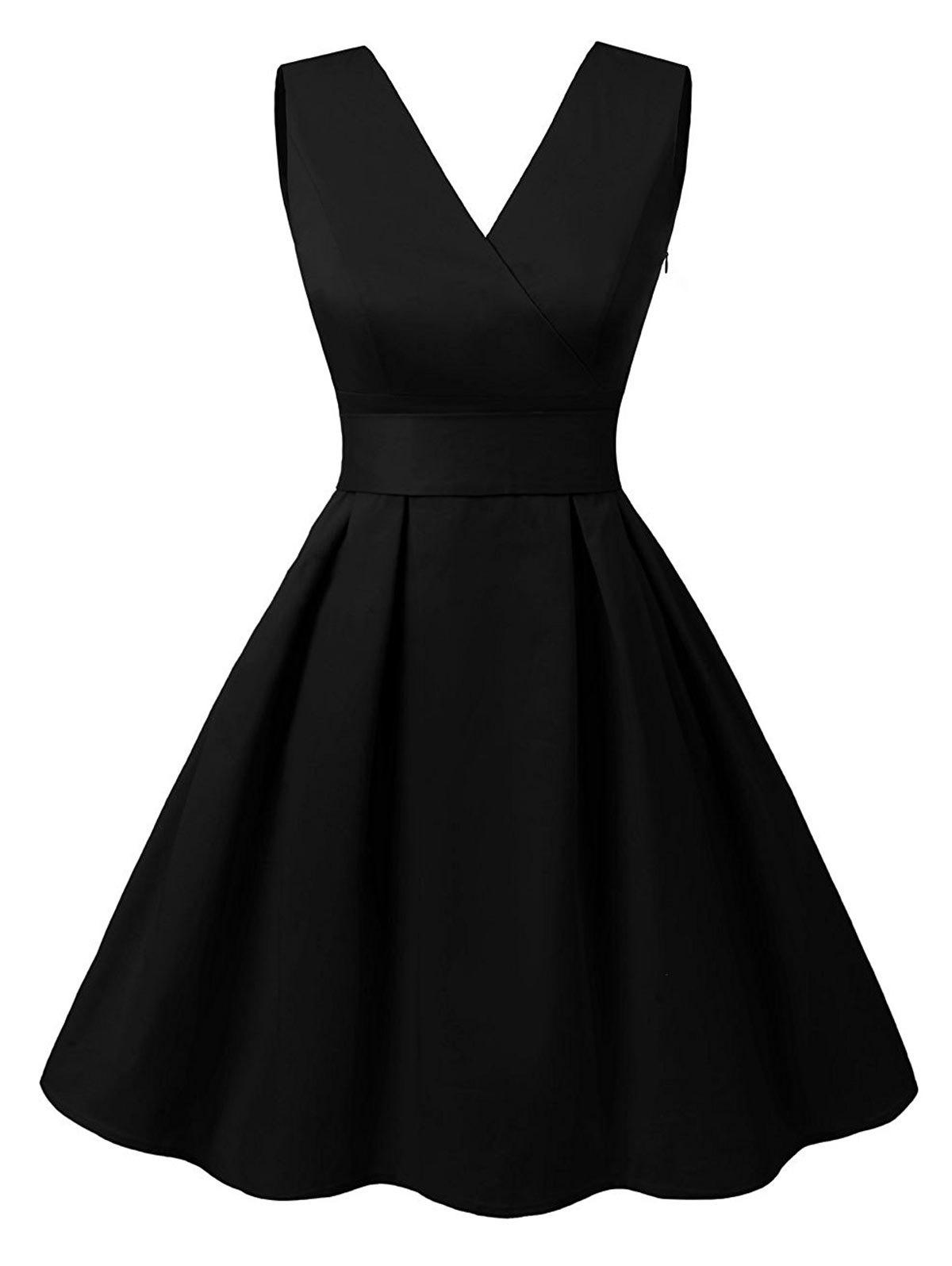 Cut Out V Neck Vintage Pin Up DressWOMEN<br><br>Size: XL; Color: BLACK; Style: Vintage; Material: Cotton,Polyester; Silhouette: A-Line; Dresses Length: Knee-Length; Neckline: V-Neck; Sleeve Length: Sleeveless; Embellishment: Cut Out; Pattern Type: Solid; With Belt: Yes; Season: Summer; Weight: 0.3800kg; Package Contents: 1 x Dress  1 x Belt;