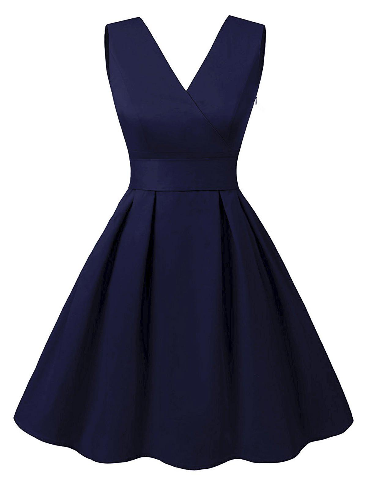 Unique Cut Out V Neck Vintage Pin Up Dress