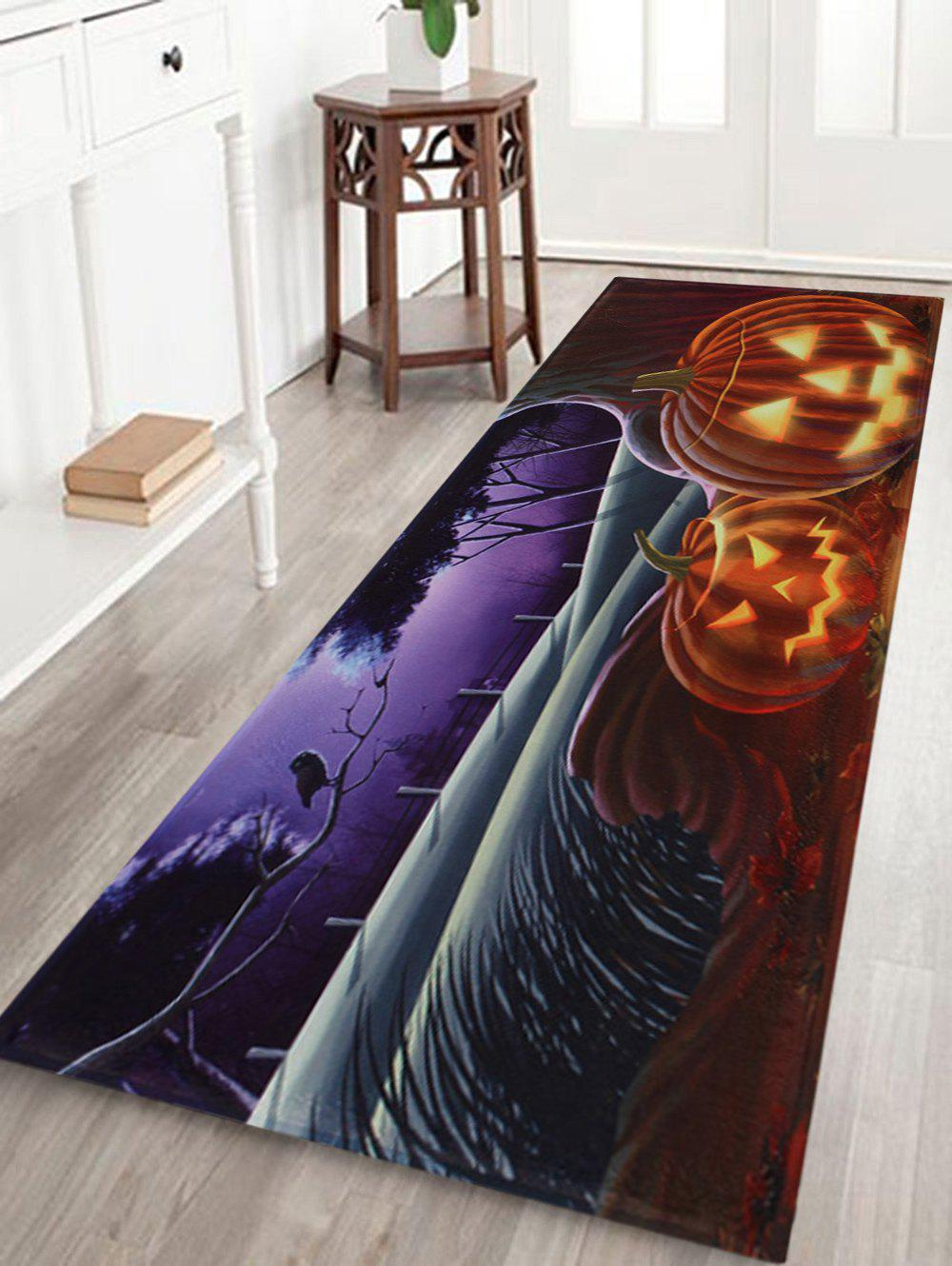 Pumpkin Halloween Pattern Anti-skid Water Absorption Area RugHOME<br><br>Size: W24 INCH * L71 INCH; Color: COLORMIX; Products Type: Bath rugs; Materials: Coral FLeece; Style: Festival; Shape: Rectangle; Package Contents: 1 x Rug;