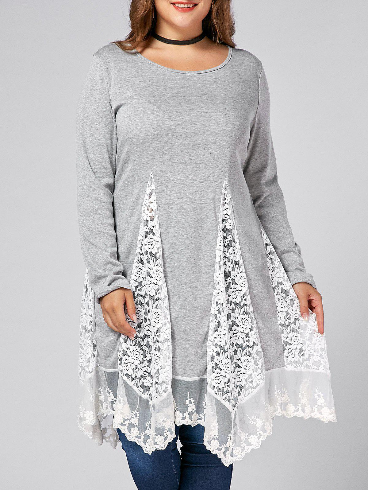Plus Size Lace Trim  Swing Long Sleeve T-shirtsWOMEN<br><br>Size: 5XL; Color: GRAY; Material: Cotton,Cotton Blends,Polyester; Shirt Length: Long; Sleeve Length: Full; Collar: Scoop Neck; Style: Casual; Season: Fall,Spring; Embellishment: Lace; Pattern Type: Others; Weight: 0.4000kg; Package Contents: 1 x Tee;