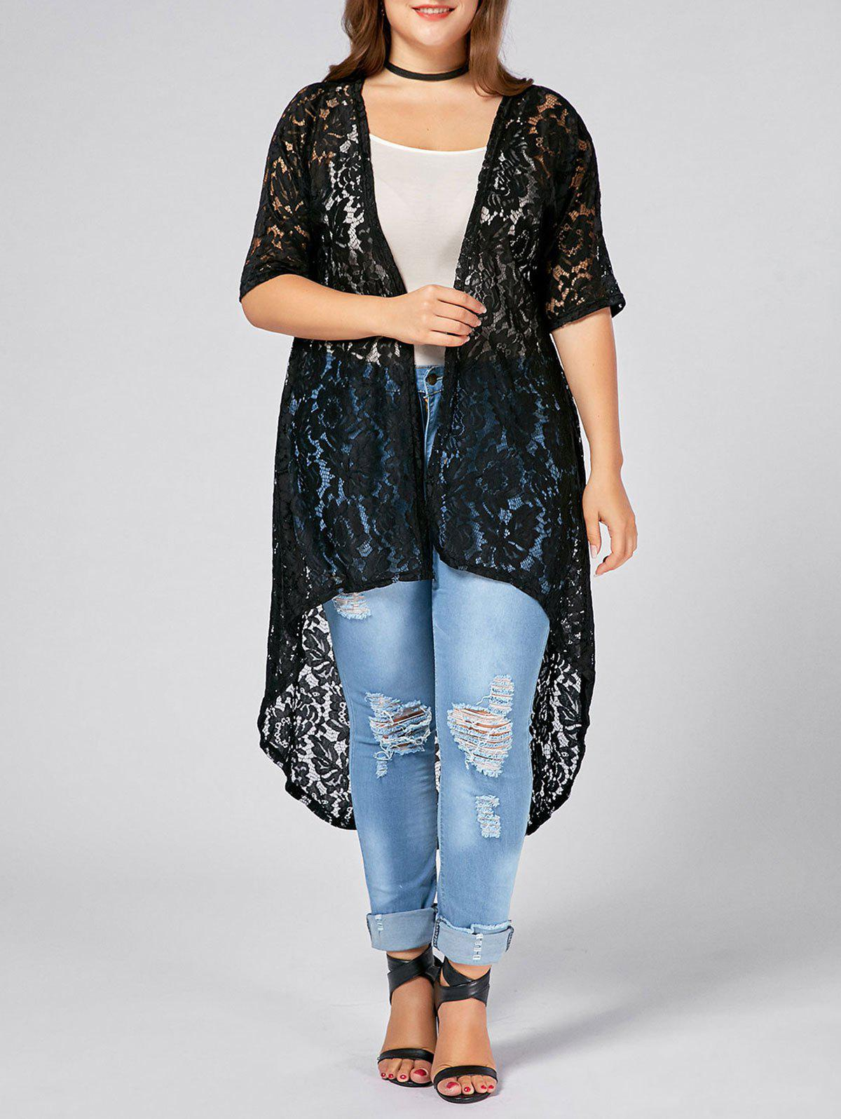 Plus Size  Long Open Front Lace Crochet CardiganWOMEN<br><br>Size: 3XL; Color: BLACK; Clothes Type: Others; Material: Cotton Blends,Polyester; Type: Asymmetric Length; Shirt Length: X-Long; Sleeve Length: Three Quarter; Collar: Collarless; Pattern Type: Solid; Embellishment: Lace; Style: Fashion; Season: Fall,Spring; Weight: 0.2700kg; Package Contents: 1 x Cardigan;