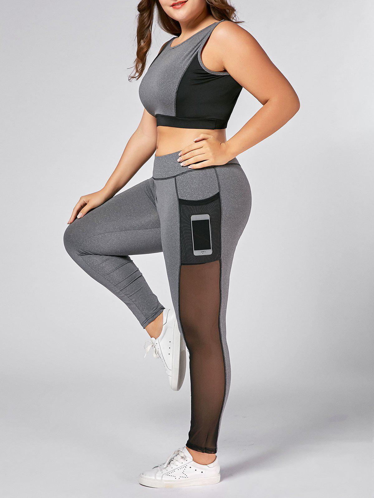 Plus Size Wirefree Yoga Bra and Mesh Panel LeggingsWOMEN<br><br>Size: 5XL; Color: GRAY; Material: Polyester; Shirt Length: Short; Sleeve Length: Sleeveless; Pattern Style: Others; Weight: 0.4500kg; Package Contents: 1 x Sports Bra 1 x Leggings;