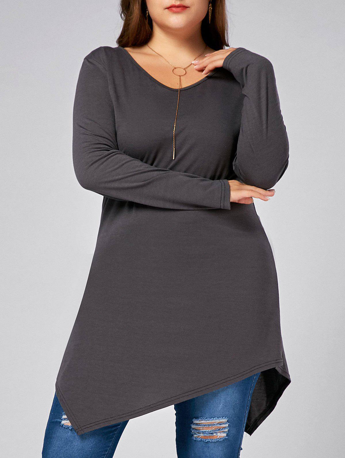 V Neck Long Sleeve Plus Size Asymmetric T-shirtWOMEN<br><br>Size: 3XL; Color: GRAY; Material: Cotton Blends,Polyester; Shirt Length: Long; Sleeve Length: Full; Collar: V-Neck; Style: Casual; Season: Fall,Winter; Pattern Type: Solid; Weight: 0.3300kg; Package Contents: 1 x Tee;