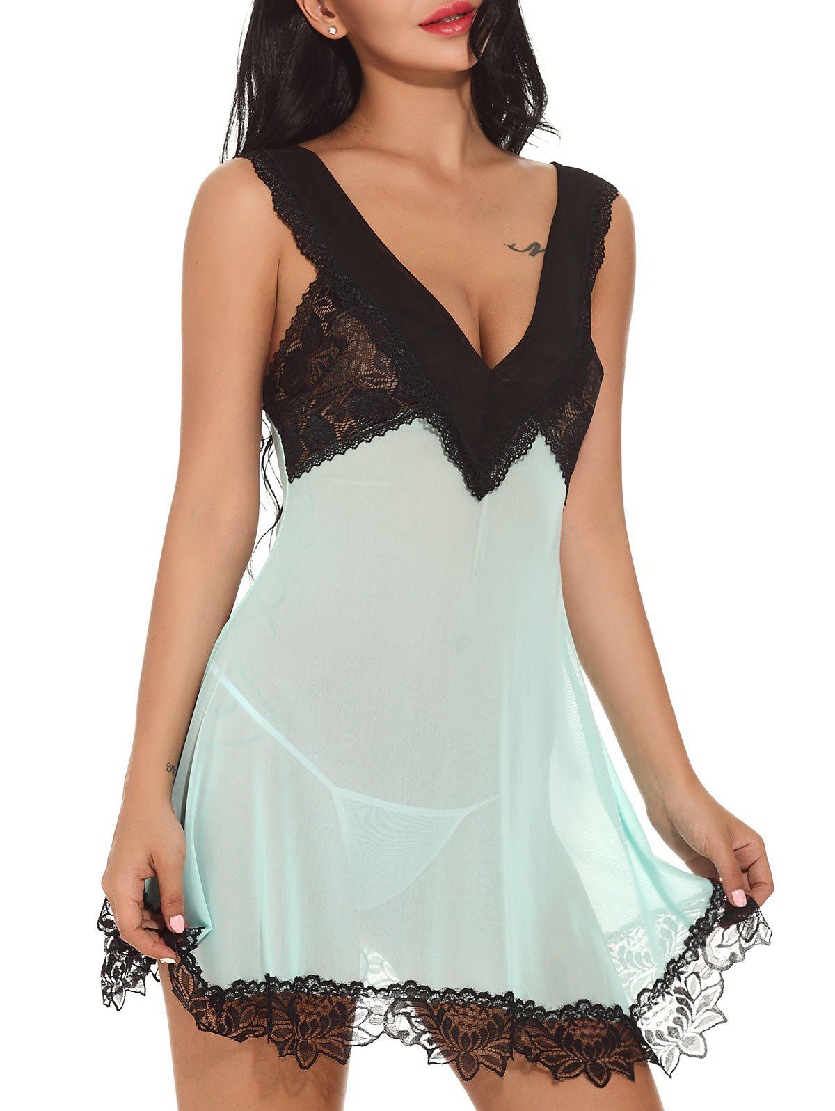 Discount Plunging Neck See-through Mesh Babydoll