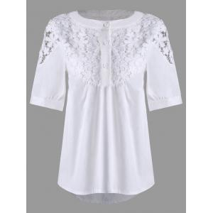 High Low Lace Insert Henley Blouse