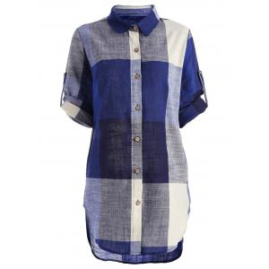 High Low Plaid Tunic Shirt - Colormix - 2xl
