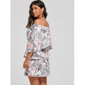 Flare Sleeve Leaf Print Off The Shoulder Dress - Abricot XL
