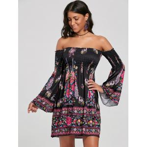 Off The Shoulder Flare Sleeve Bohemian Dress -