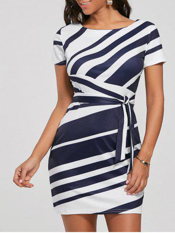 Discount Fitted Striped Dress BLUE M