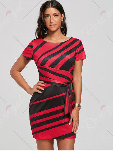 Buy Fitted Striped Dress - S RED Mobile