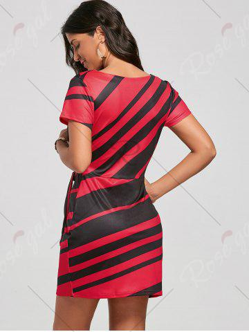Discount Fitted Striped Dress - S RED Mobile