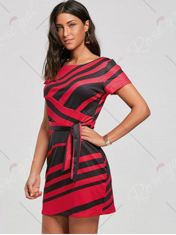 Online Fitted Striped Dress - S RED Mobile