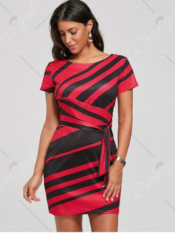 Unique Fitted Striped Dress - S RED Mobile