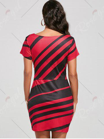 Affordable Fitted Striped Dress - S RED Mobile