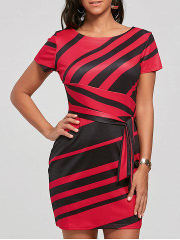 Store Fitted Striped Dress - S RED Mobile
