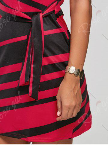Fancy Fitted Striped Dress - S RED Mobile