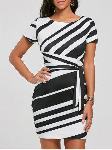 Shop Fitted Striped Dress - S BLACK Mobile