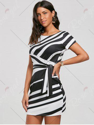Best Fitted Striped Dress - S BLACK Mobile