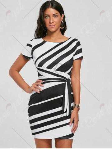 Hot Fitted Striped Dress - S BLACK Mobile