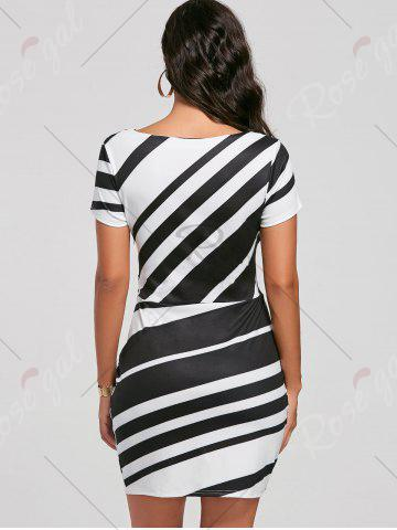 Affordable Fitted Striped Dress - S BLACK Mobile