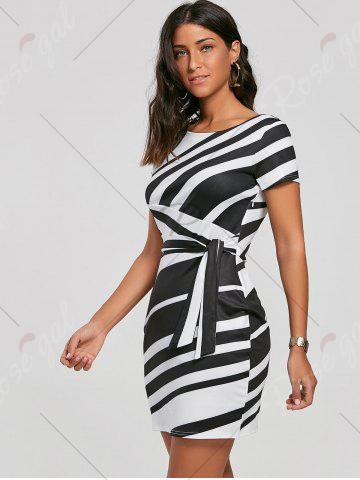 Shops Fitted Striped Dress - S BLACK Mobile