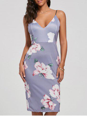 Fitted Floral Backless Slip Dress - Light Purple - Xl