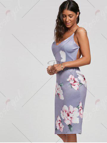 Cheap Fitted Floral Backless Slip Dress - S LIGHT PURPLE Mobile