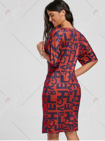 Outfit Letter Print Knee Length Front Slit Dress - S RED Mobile